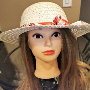 Cute Fashion Straw Sun Hat with Red Printed Ribbon